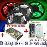 Промышленное освещение 10M Flexible Led Strip Lights SMD5050 60Leds/M RGB For Ceiling/ Bar Decoration 2x5M + 44Key IR Remote Controller + Adapter/Power