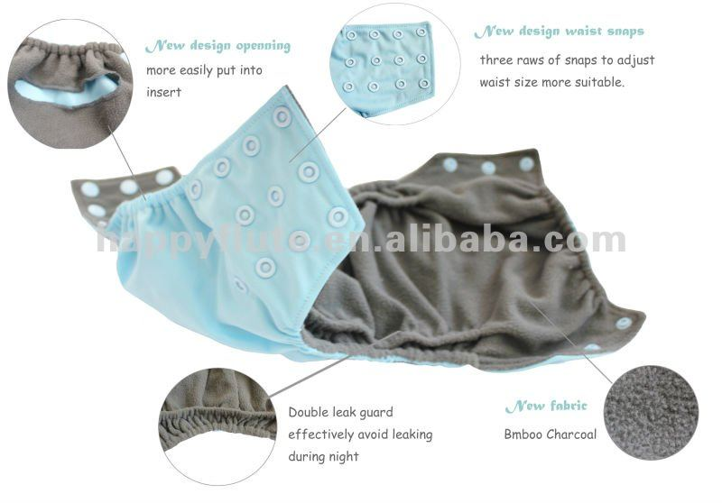 new style baby cloth diaper, bamboo charcoal diaper, happy flute
