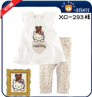 Free Shipping 6sets/lot girls clothing sets, Princess short sleeve t shirts & pants ,children Cartoon pyjamas baby pajamas XC288