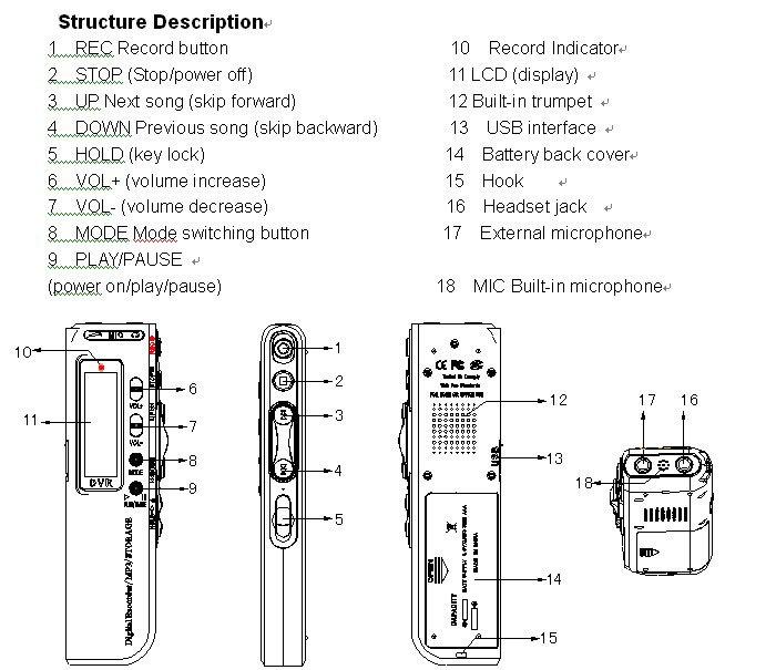 Digital voice recorder инструкция на русском
