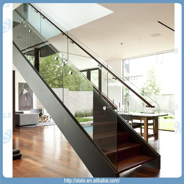 moderna escalera recta escalera de barandilla de vidrio para el interior