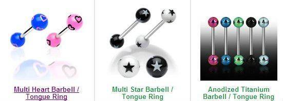 Shell French Tickler Straight Barbell Tongue Ring Surgical Steel Shaft