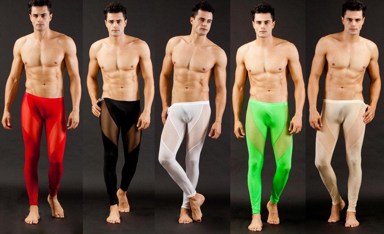 WJ Wang Jiang Sexy Men's Long johns Smooth mesh see-thru underwear ...
