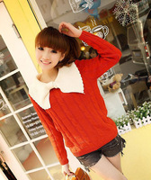 Женский пуловер 2013 new autumn and winter women's sweater pullover big bow lapel contrast color long-sleeved patterns twist