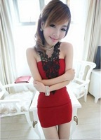 Beautiful The fashion complex Gulei Si hook spend Halter Bra Slim package hip dress Free Shipping