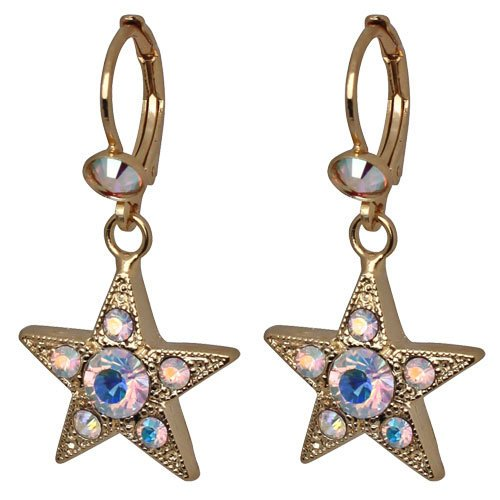 NEW KIRKS FOLLY STAR WONDER CRYSTAL AB LEVERBACK EARRINGS GOLDTONE.jpg