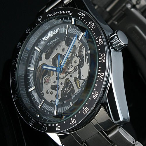 WM174 Mens Black Bezel Skeleton Stainless Steel Automatic Watch