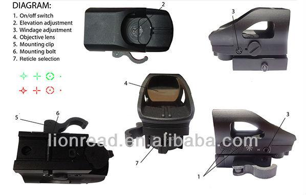 LionRead Hunting Mini Reflex Rifle Red/Green Dot Sight
