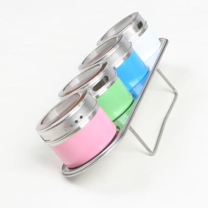 Free Shipping 2sets New Colorful Castot Salt Pepper Condiments Case Bottle Scan Container