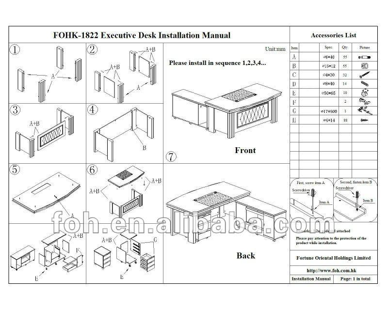 Standard Office Desk Dimensions Wooden Desk Office Furniture (fohs-a1838) - Buy Standard Office ...
