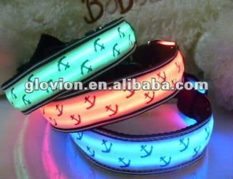 2014 flashing pet collars novelty led pet collar led glowing in the dark pet collar