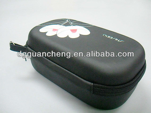 (GC-COS-02) New black PU beautiful flower printing EVA cosmetic bag