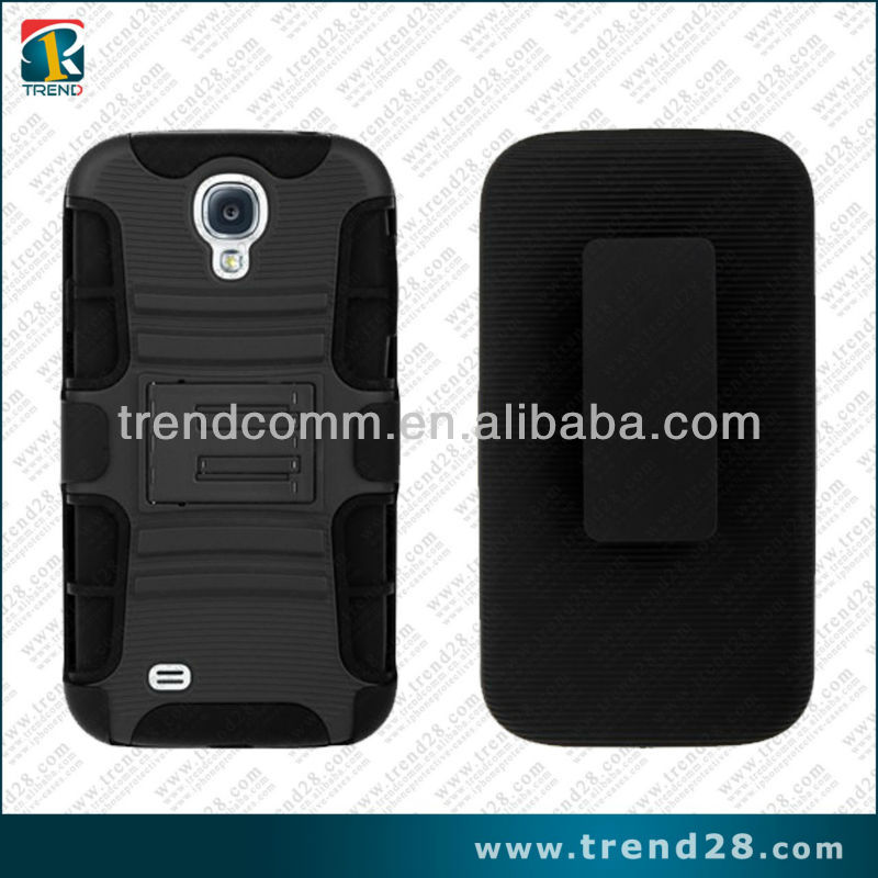 2013 new exquisite holster design pc+silicone hybrid combos case for samsung galaxy s4