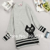 autumn pure Knit long sleeve loose Long Sweater Women's O-neck Cat pattern Sweater Gray