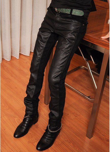 free shipping mens leather fashion pantscool PU jeans