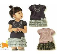 Платье для девочек 2013 baby pink/navy blue polka dot print cotton dress toddlers summer girl dress summer kids outfit New