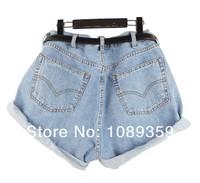 4 сезона Одежда джинсовая джинсы шорты старинный Подол roll-up высокой талией свободный стиль короткие брюки