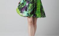 Постельное покрывало Li Cai green ink print dress hanging neck high waist skirt beaded chiffon short dress bridesmaid 9050