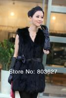 Женская одежда из меха New Women's synthetic long fur Collar Vest Jacket Coat Waistcoat Gilet S/M/L BLACK