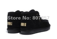 Stylish Fashion Men's Lace-up winter ankle snow boots,out door leather high top wool shoes,Chest nut,Chocolate,Sand,Black,39-44