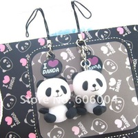 2 pcs I LOVE PANDA cute Mobile Cell Phone Strap and Retail