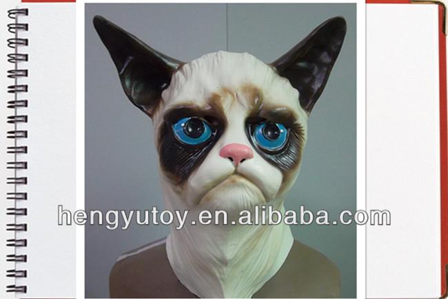 Best Popular Green Halloween Fancy Dress Latex Grumpy Cat Mask