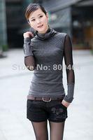 Женская футболка Sunlun 2012 Women's Cotton Turtleneck Base Shirt/Special Chiffon Sleeves/3 Colors