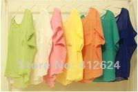 Женская футболка New Top Blouse Sheer Batwing Short Sleeve Loose Women Ladies Chiffon T Shirt