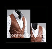 Wholesale retail New arrival Hot metrosexual man's choice Korean Boutique men's slim All/match Leather vest , you worth have it