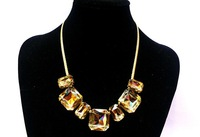 Колье-цепь 2013 Gold Chain Big Crystal Glass Drill Box Statement Colorful Choker Necklace Short Design For Woman