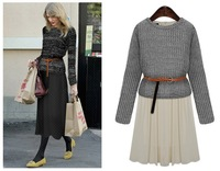 Женское платье New spring women's dress two-piece round neck long-sleeved dress women 2 color with belt