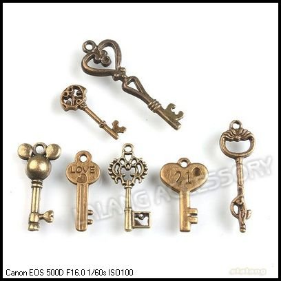 Hot Selling Alloy Key Dangle Mixed Antique Bronze Tone Pendant Fit Handmade Craft Making 147pcs/lot 142192
