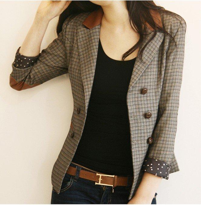 New Vintage Style Women&39s Plaids Suit Leather Patchwork Cotton