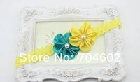 "Детский аксессуар для волос 20set/lot Double 1.97"" Satin Fabric Flowers with pearl Angel baby Lace headbands For Christmas FDB54"