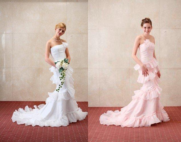 Western style exquisite organza ruffle mermaid wedding gown