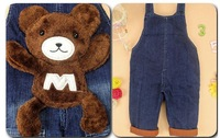Брюки для девочек 2012 autumn child baby denim suspenders trousers infant jumpsuit