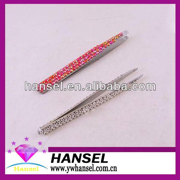 pink color metal automatic cute best eyebrows tweezers