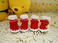 Free shipping pet dog shoes! 4pcs/set, winter christmas cute dog shoes 7902