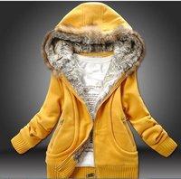 со-151 женщин хлопка-ватник мода искусственного меха с капюшоном на молнии кардиган пальто сгущает повседневная одежда