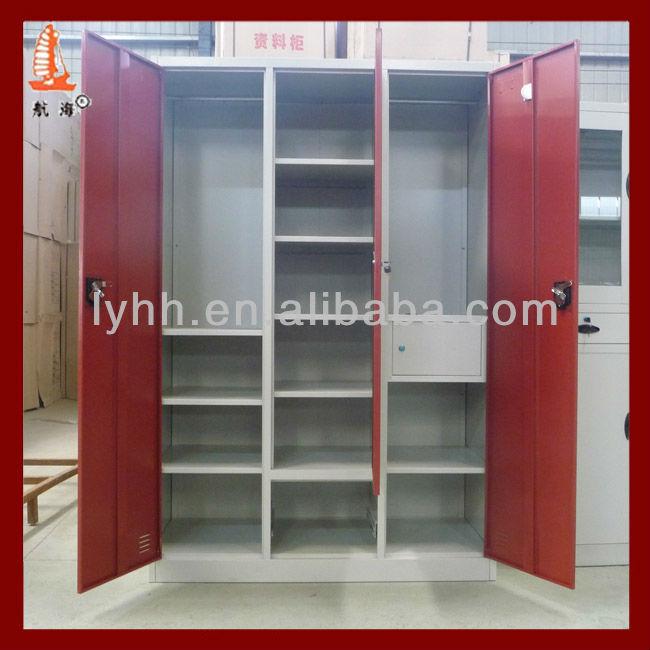 Modern indian style red steel iron designer bedroom for Bedroom designs with almirah