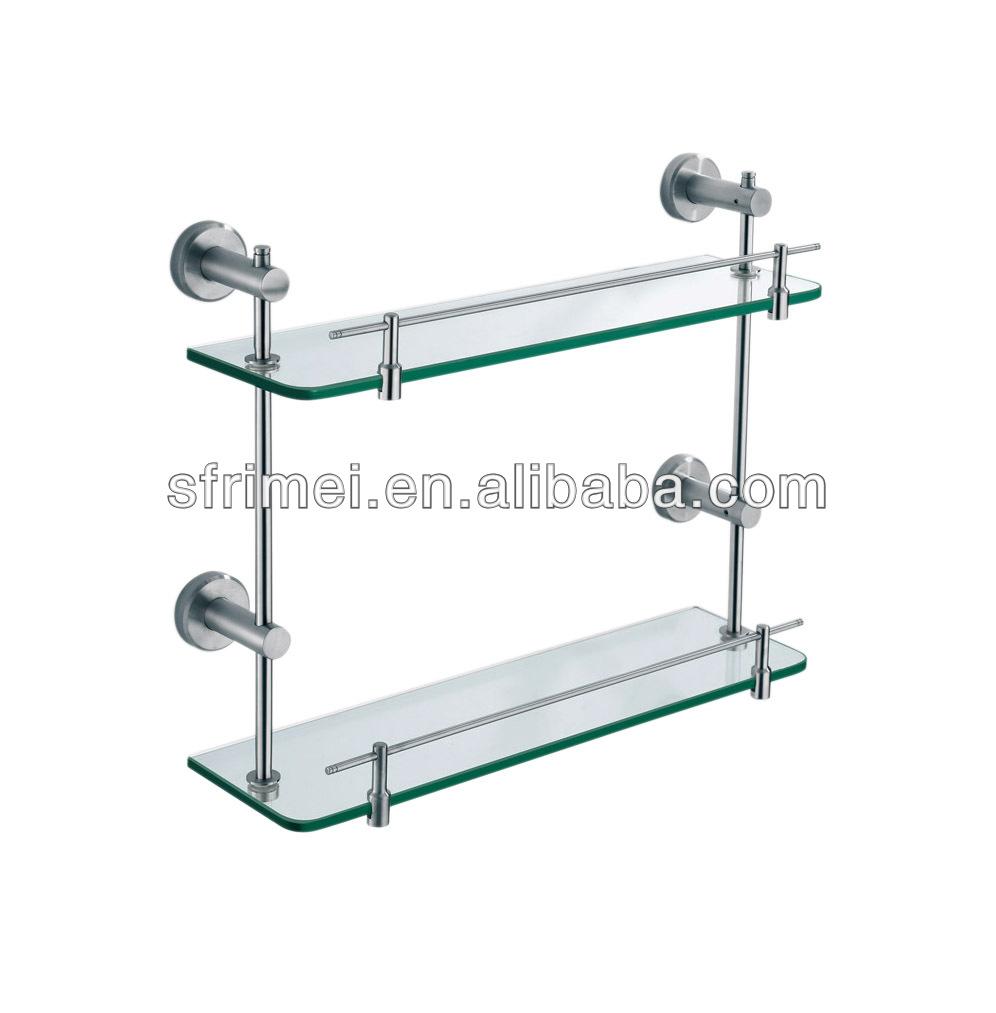 Wall-mounted Shower Caddy Storage Shelf Double Tiers Bathroom Glass ...
