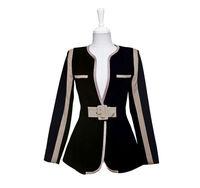 Женская куртка WOMEN MIXED COLORS FAKE POCKET DECORATION SLIM LONG SLEEVE JACKET WF-4159