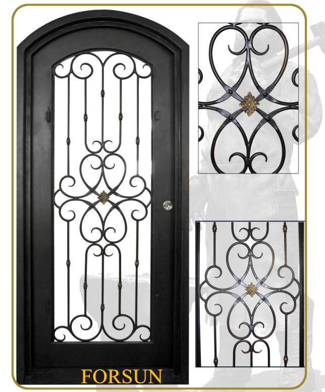 Security wrought iron single door with arched transom - Puertas de metal para casas ...