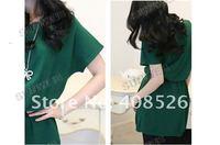 новые женские леди моды Долман короткие повседневные хлопок batwing Платье Зеленый 7310