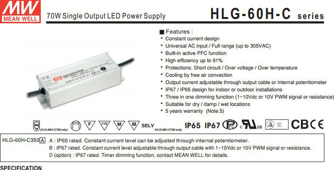 Mean well 60W led driver 700ma/700mA LED Power Supply 60W/dimming led driver 60w/60w led driver with PFC function