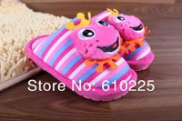Тапочки для мальчиков Retail Cotton Winter Warm Children Shoes Kids Cartoon Frog Animal Slippers Хлопковая ткань