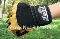 man weight lifting half finger leather glove bodybuilding training equipment sport fitness gloves