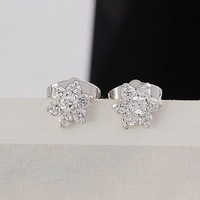 Серьги-гвоздики QUALITY 24KGP PLATINUM 1.5 CT PRINCESS CUT GEMSTONE LADIES' FLOWER STUD EARRINGS, COME WITH A GIFT BOX