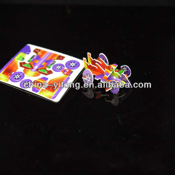 2013 Hot promotional 3D mini plastic car puzzle for food/for kids,kids toy/car