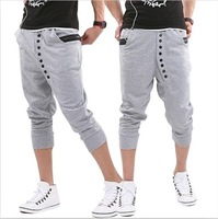 Мужские шорты Hot Men's Shorts, three-quarter Pants Button decorated Sport Trousers Three Color Leisure Men's Trousers